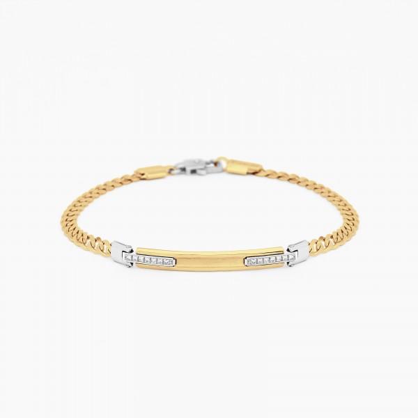 Bracciale da uomo in oro giallo con piastra centrale e diamanti laterali bianchi.
