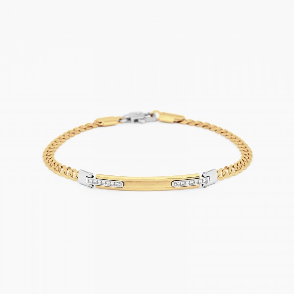 Yellow gold men's bracelet, embellished with a central plate, diamonds on the side.