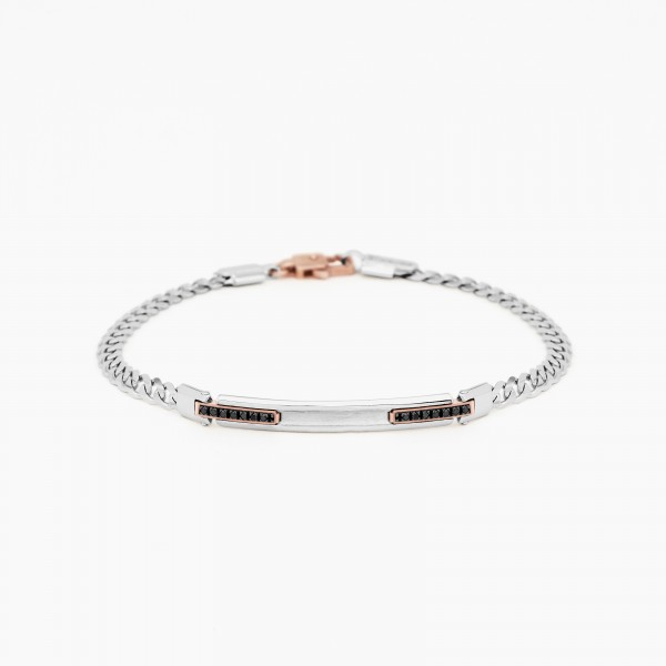 White gold men's bracelet, embellished with a central plate, black diamonds on the side.