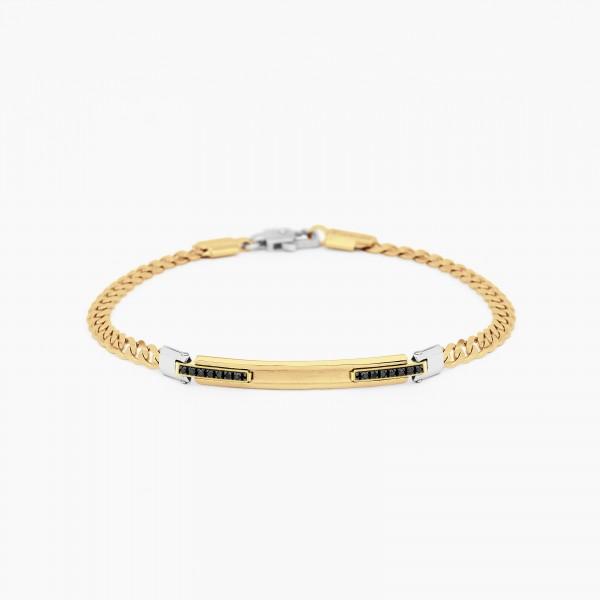 Bracciale da uomo in oro giallo con piastra centrale e diamanti laterali neri.
