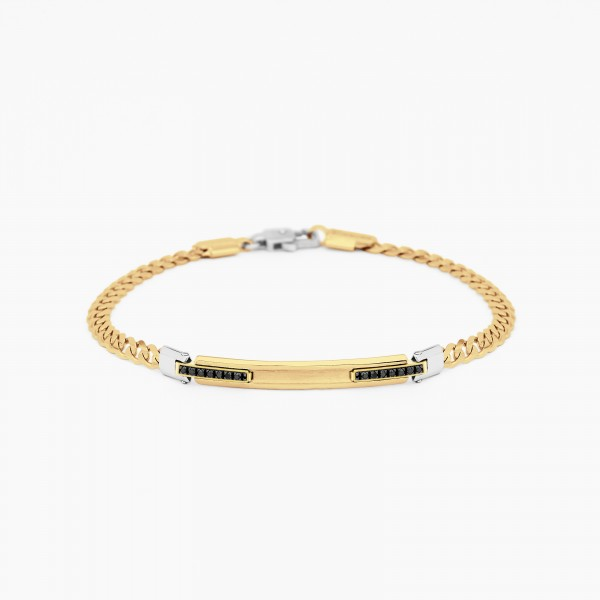 Yellow gold men's bracelet, embellished with a central plate, black diamonds on the side.