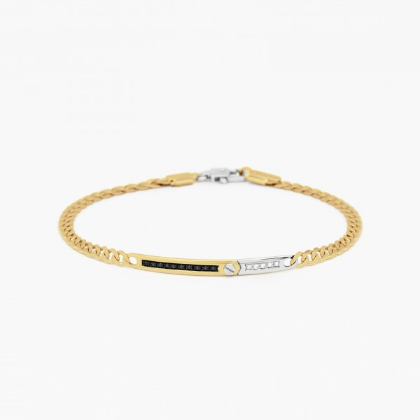 Yellow gold men's bracelet, embellished with a central plate.