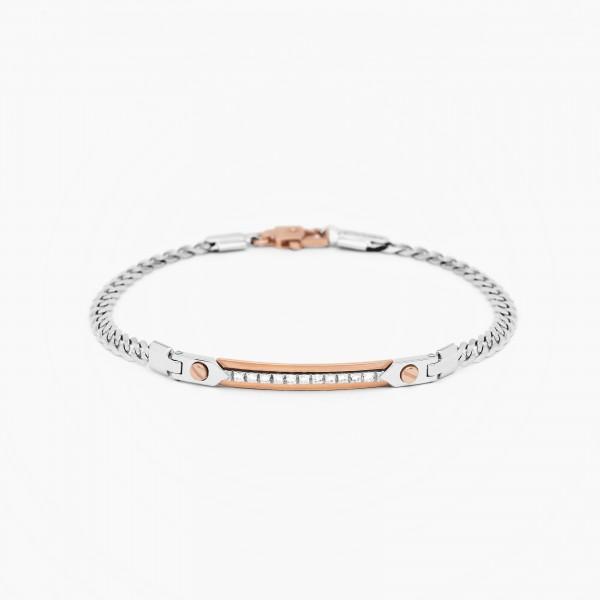 White gold men's bracelet, embellished with a central plate.