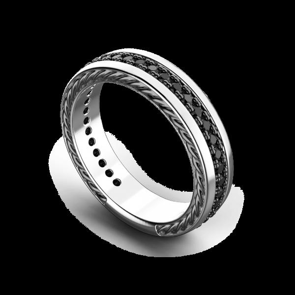 Anello a fede Zancan in argento con pietre nere.
