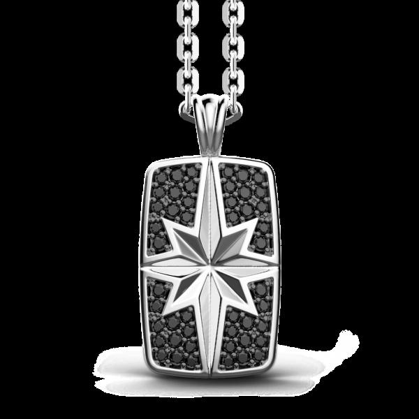 Collana Zancan in argento a targa con pietre nere.