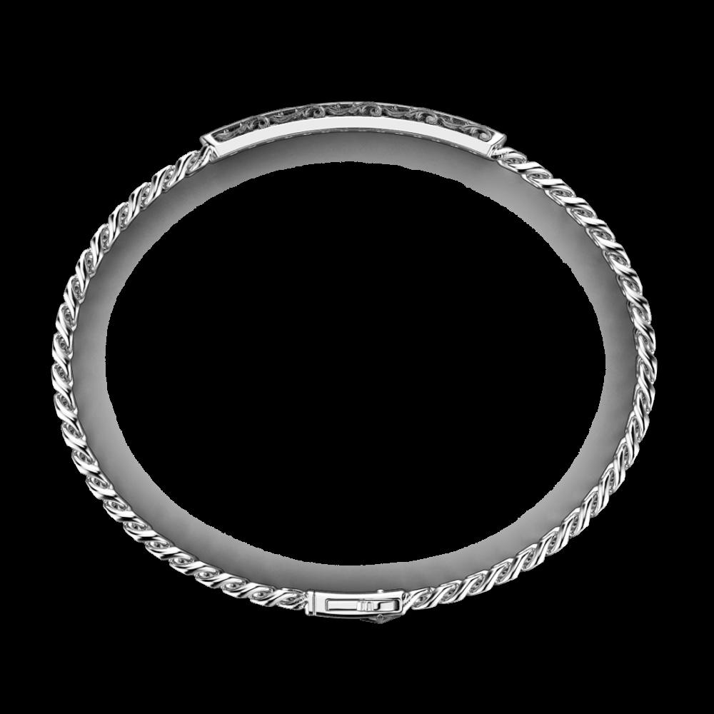 Bracciale Zancan in argento a grumetta con targa e pietre nere.