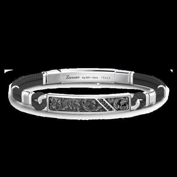 Bracciale Zancan in argento, kevlar e pietre nere.
