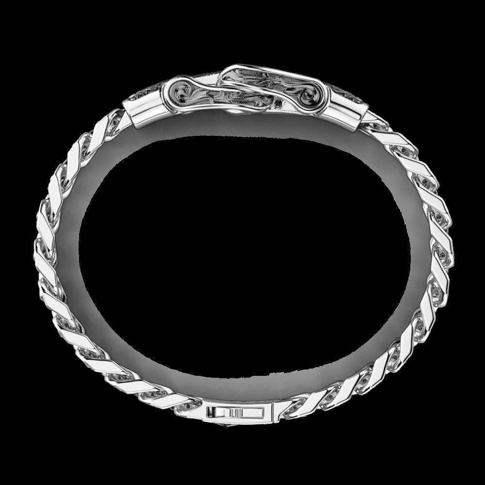 Bracciale Zancan in argento a grumetta con fibia e pietre nere.