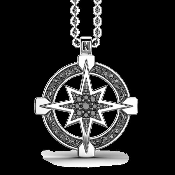 Collana Zancan in argento con pendente a rosa dei venti e pietre nere.