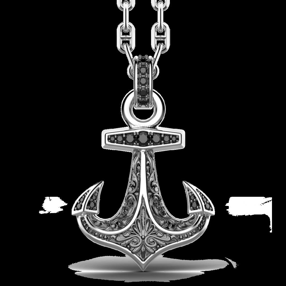 Collana Zancan in argento, pendente ad acora con pietre nere.