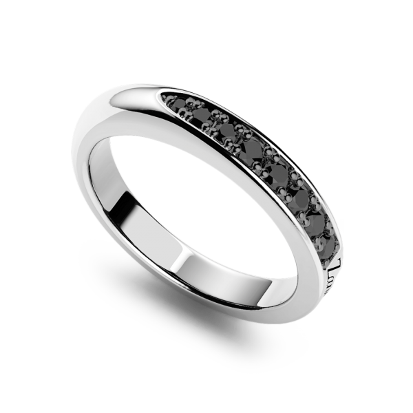 Anello Zancan a fede in argento con pietre nere.