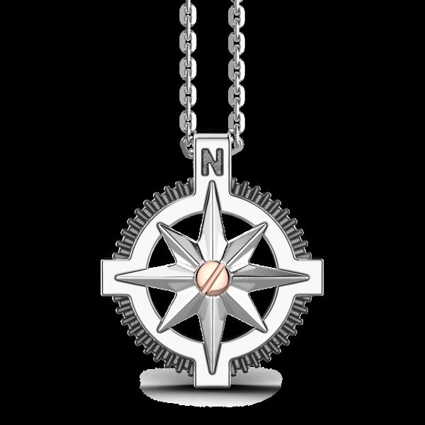 Collana Zancan in argento, pendente a rosa dei venti e vite in oro rosa