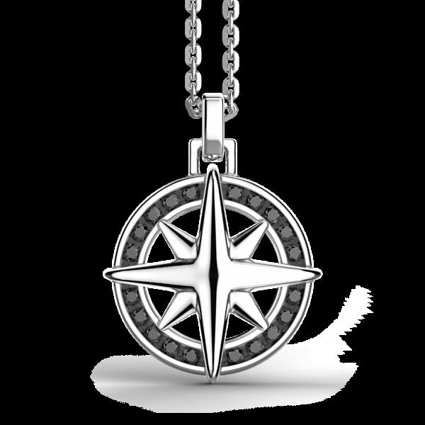 Collana Zancan in argento, pendente a rosa dei venti con pietre nera