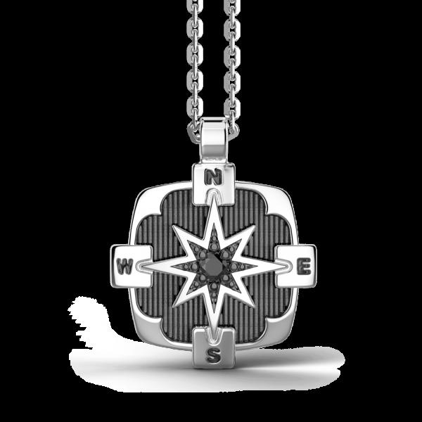 Collana Zancan in argento, pendente a rosa dei venti con pietra nera