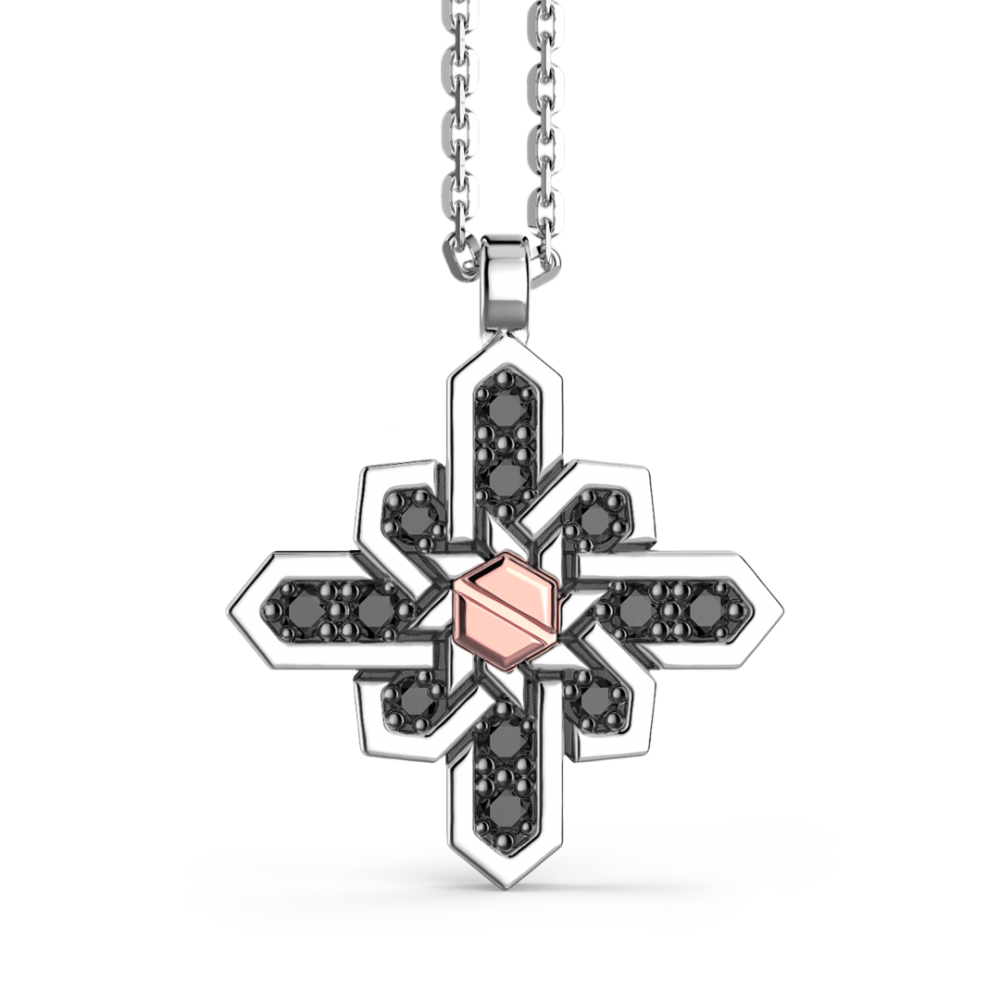 Collana Zancan in argento, pendente a rosa dei venti, pietre e vite in oro rosa