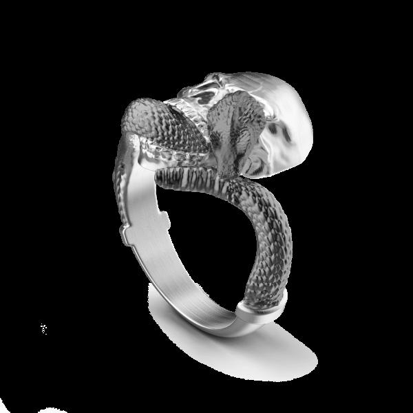 Anello Zancan in argento con teschio e serpente.