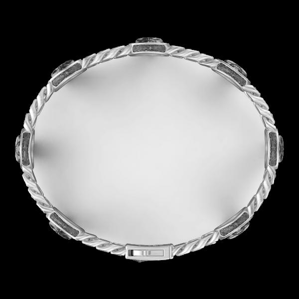 Bracciale a grumette Zancan in argento con teschi.