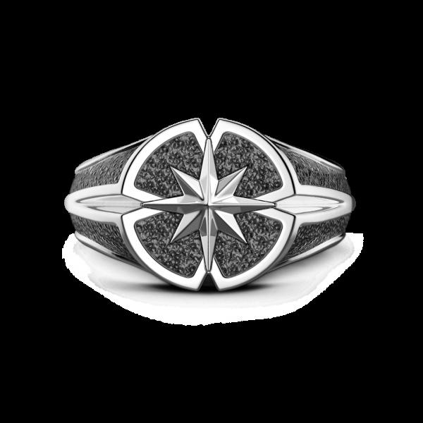 Anello Zancan in argento con rosa dei venti.