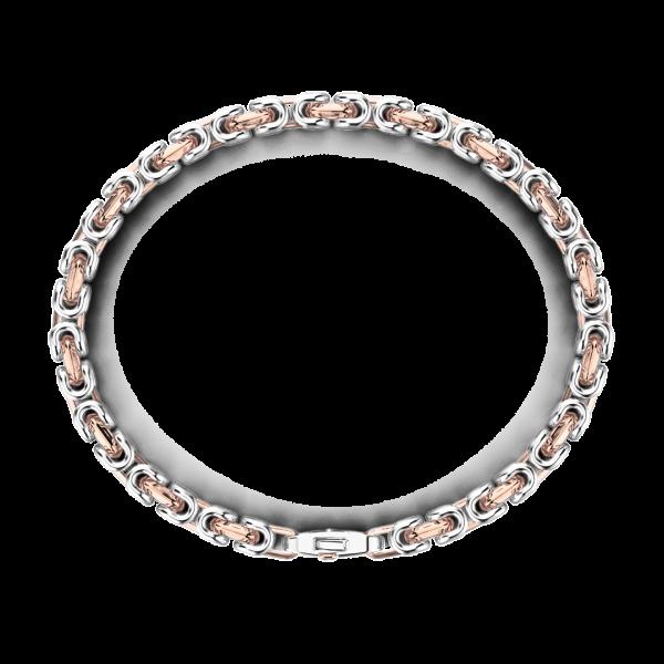 Bracciale da uomo Zancan catena in argento e oro rosa.