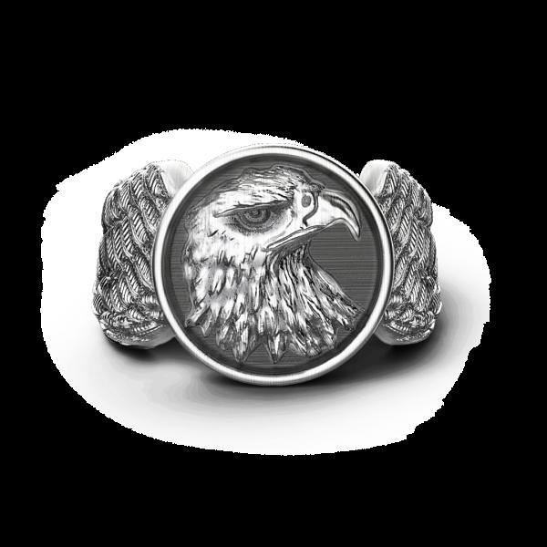 Anello Zancan aquila in argento con finitura vintage.