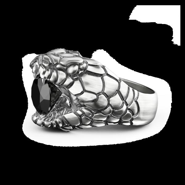 Anello Zancan cobra in argento con finitura vintage.
