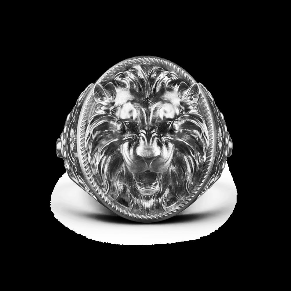 Anello Zancan leone in argento con finitura vintage.