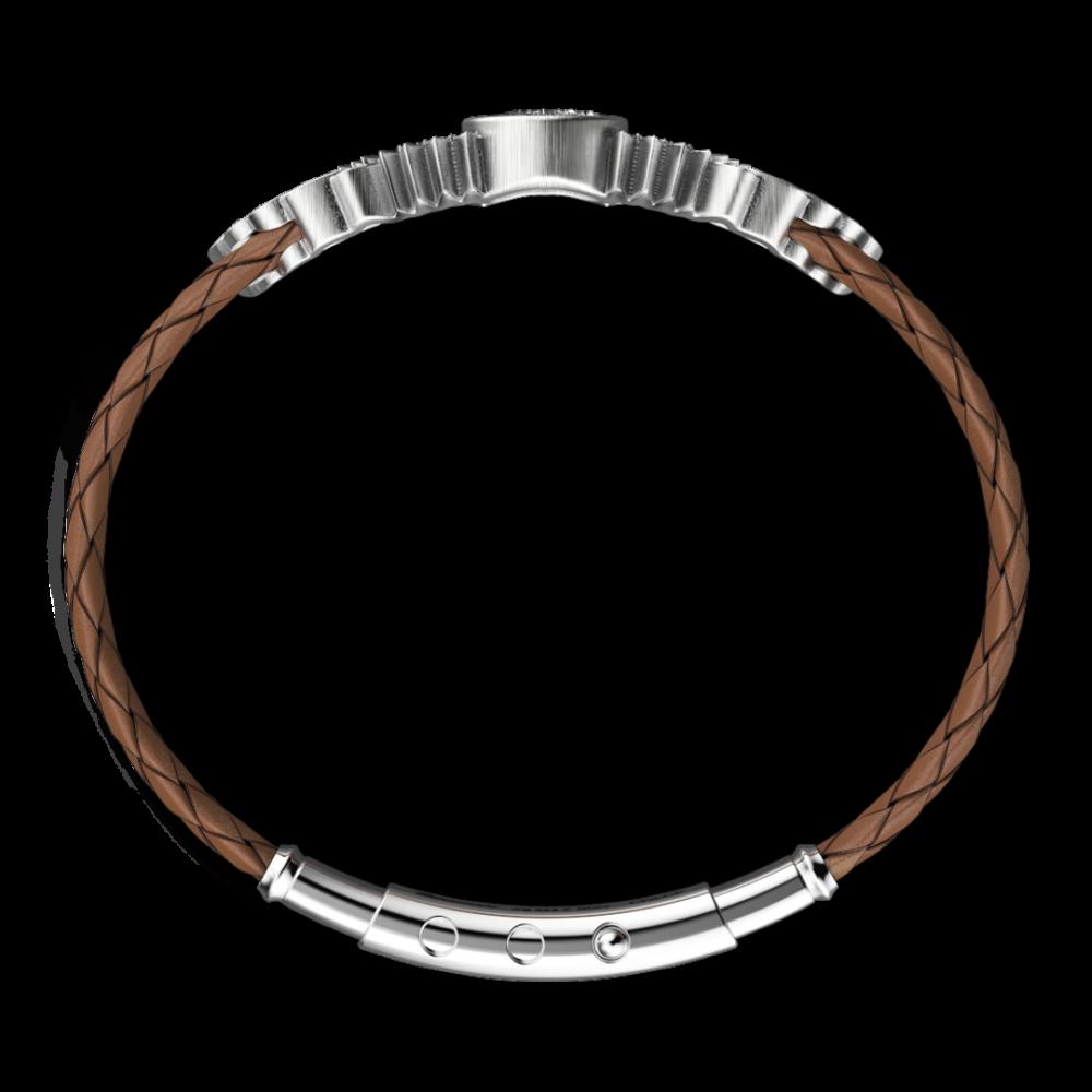 Bracciale Zancan in argento e pelle con aquila.