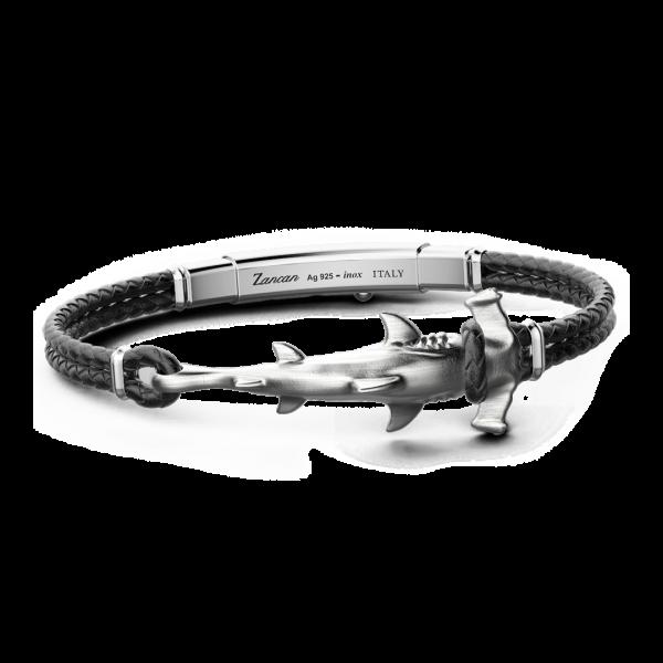 Bracciale Zancan in argento e pelle con squalo.
