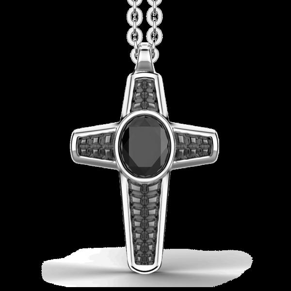 Collana Zancan in argento con pendente a croce e pietra nera.