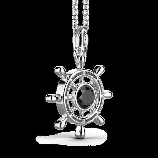Collana Zancan in argento con pendente a timone e pietra nera.