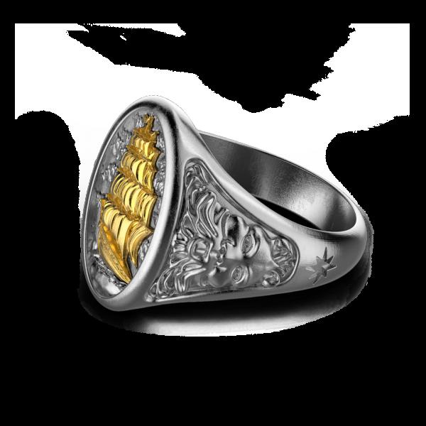 Anello Zancan in argento brunito con veliero.