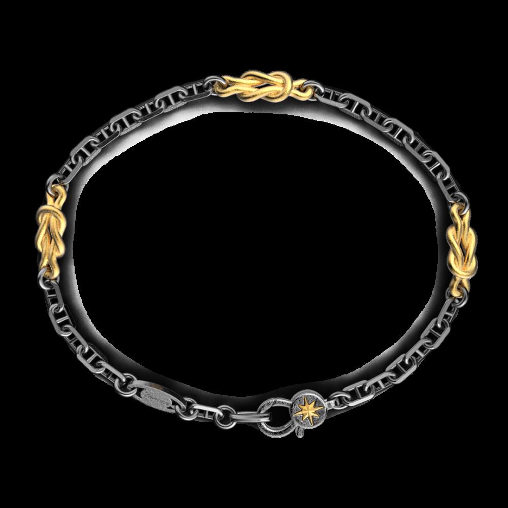 Bracciale Zancan in argento brunito con nodi marinari.