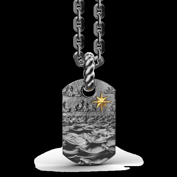 Collana Zancan in argento brunito con pendente raffigurante le onde del mare.