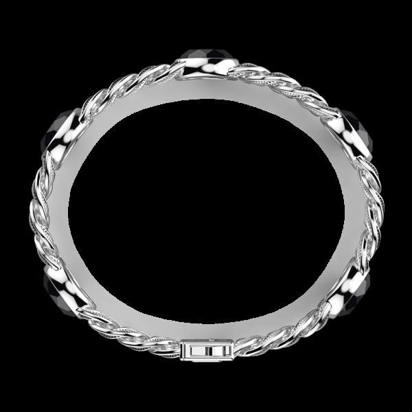Bracciale a grumetta Zancan in argento con finitura striata in nero e pietre onice.