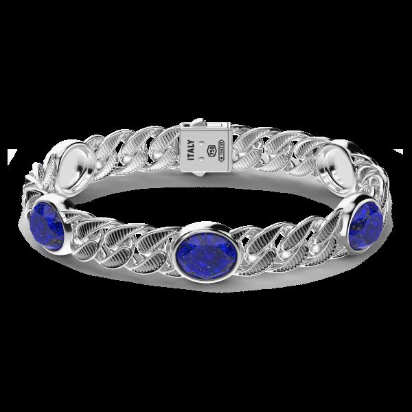 Bracciale a grumetta Zancan in argento con finitura striata in nero e pietre blu.