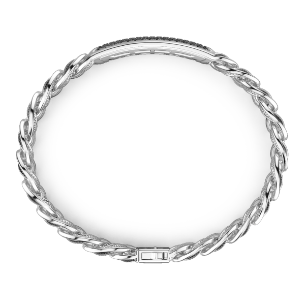 Bracciale grumetta larga Zancan in argento con finitura striatae targa con pietre nere.