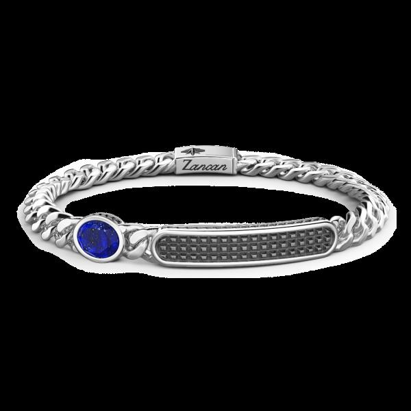 Bracciale grumette Zancan in argento con targa e pietra blu.