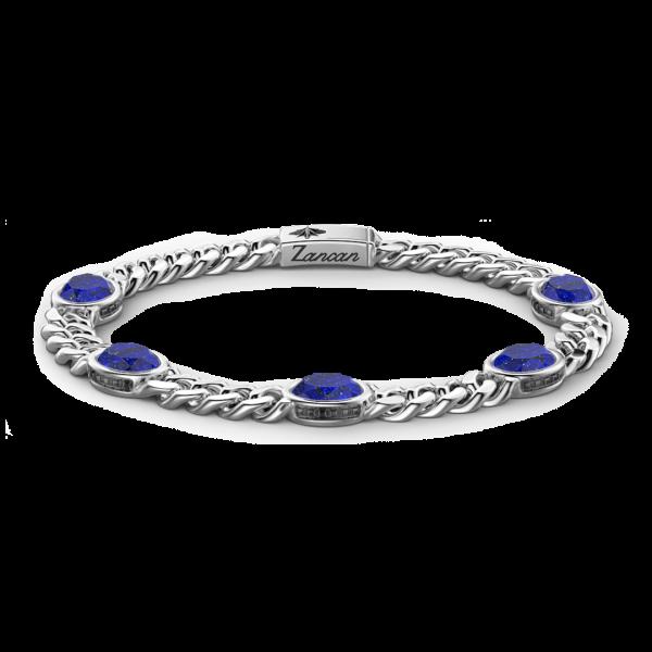 Bracciale a grumetta Zancan in argento con pietre blu.
