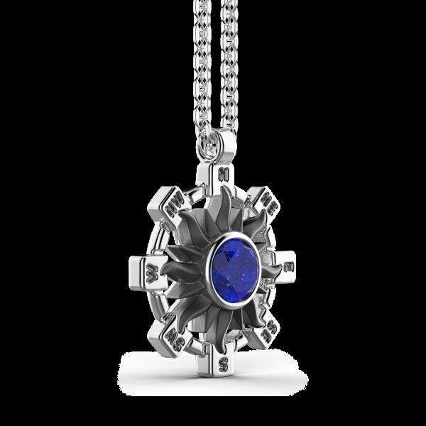 Collana Zancan in argento con pendente a sole e pietra blu.