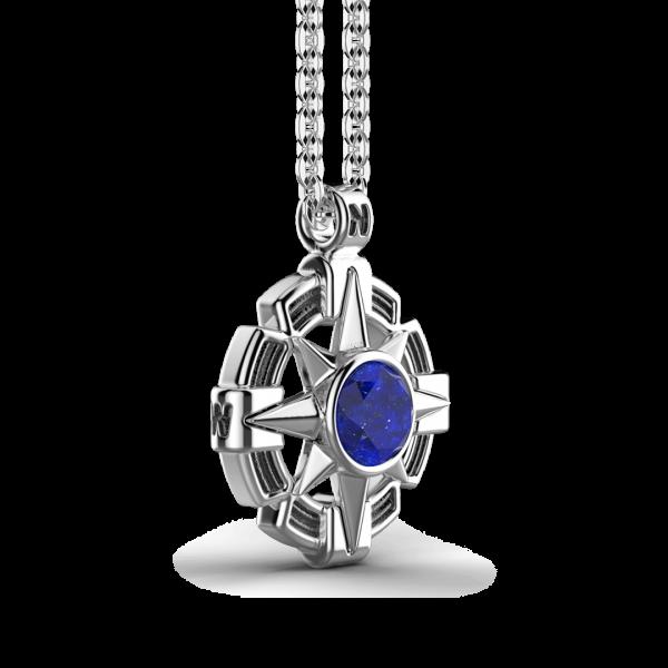 Collana Zancan in argento con pendente a rosa dei venti e pietra blu.