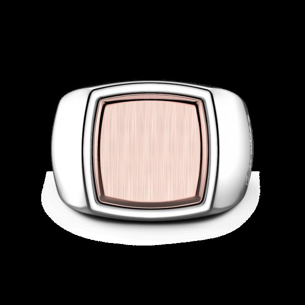 Anello Zancan quadrato in argento e oro rosa.