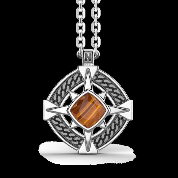 Collana Zancan in argento con pendente a rosa dei venti e pietra occhio di tigre.