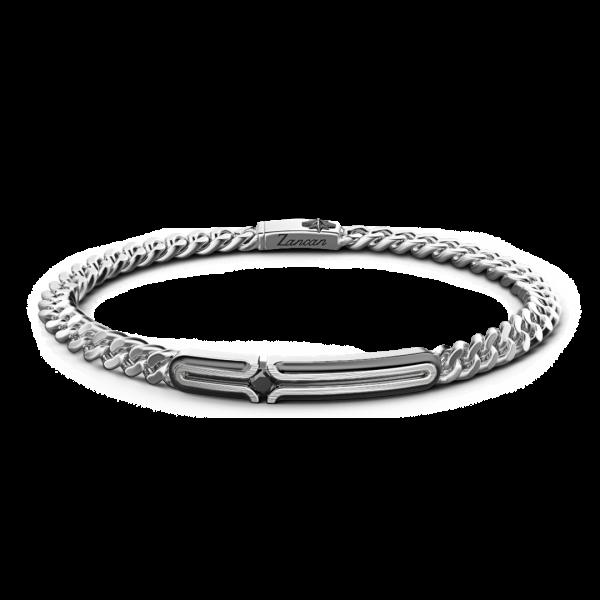 Bracciale grumetta Zancan in argento con targa e pietra nera.