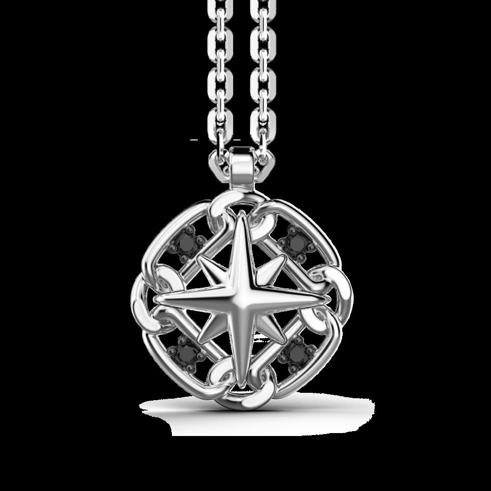 Collana Zancan in argento con pendente a rosa dei venti.