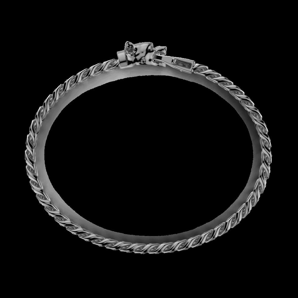 Bracciale a grumetta Zancan in argento con chiusura a testa di pitbull.