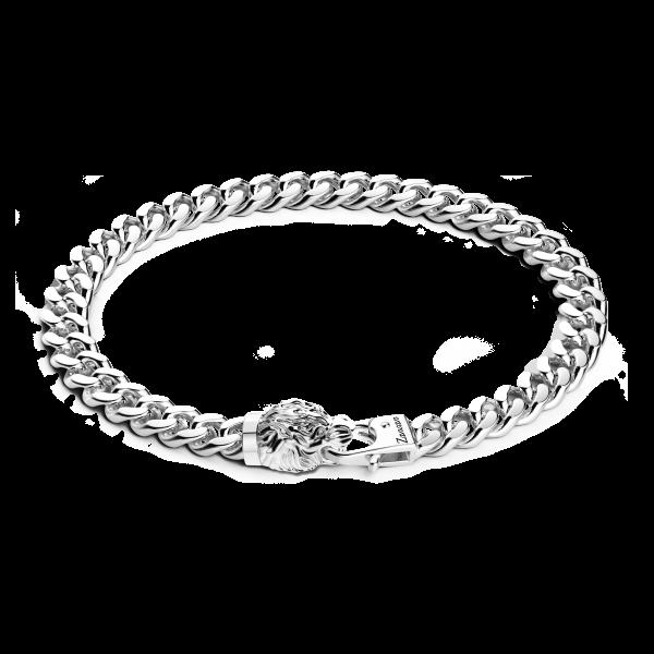 Bracciale a grumetta Zancan in argento con chiusura a testa di tigre.