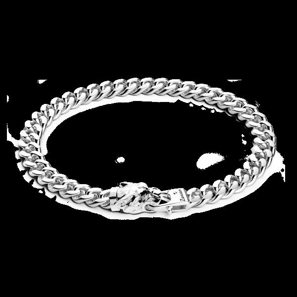 Bracciale a grumetta Zancan in argento con chiusura a testa di pantera.
