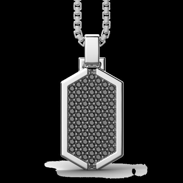 Collana Zancan in argento con pendente a targa tempestato di pietre nere.