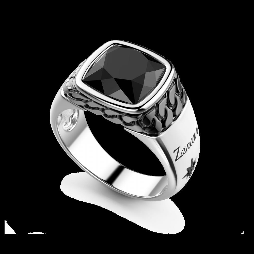 Anello chevalier Zancan in argento con pietra onice nera.