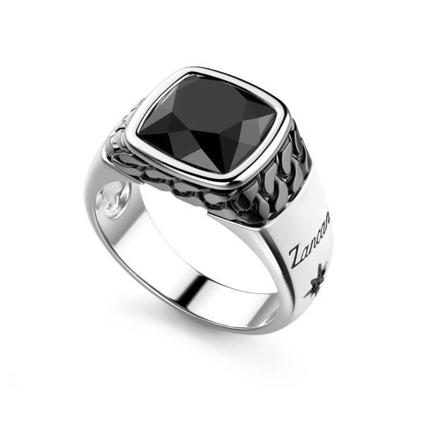 Black and white silver ring with natural onyx stone.